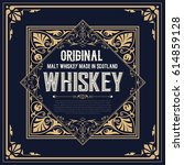 whiskey label with old frames | Shutterstock .eps vector #614859128