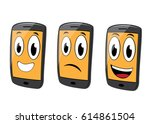 various faces expression of... | Shutterstock .eps vector #614861504