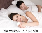 couple in bed  happy smiling... | Shutterstock . vector #614861588