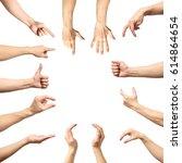 multiple male caucasian hand... | Shutterstock . vector #614864654