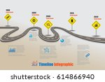 design template  road map... | Shutterstock .eps vector #614866940
