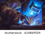 industrial worker labourer at... | Shutterstock . vector #614869034