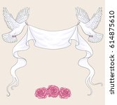 white flying  doves with ribbon ... | Shutterstock .eps vector #614875610