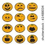 collection of halloween pumpkin ... | Shutterstock .eps vector #61488034