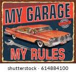vintage garage retro poster | Shutterstock .eps vector #614884100