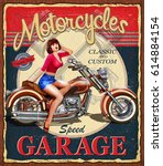 vintage motorcycle poster. | Shutterstock .eps vector #614884154