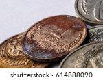 rusty soviet coin    Shutterstock . vector #614888090