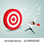 businessman trying to hit a... | Shutterstock .eps vector #614890040