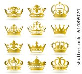 Gold crown icons set. Illustration vector. - stock vector