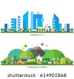 ecosystem. modern city and... | Shutterstock .eps vector #614902868