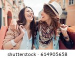 two young fashion women with... | Shutterstock . vector #614905658