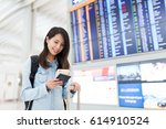 young woman using cellphone in... | Shutterstock . vector #614910524