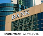 Bank Sign On Glass Wall Of...