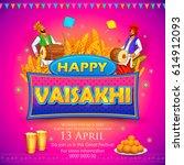 illustration of happy vaisakhi... | Shutterstock .eps vector #614912093
