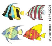 vector fishes set  coral fishes ... | Shutterstock .eps vector #614913206