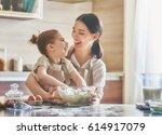 happy loving family are... | Shutterstock . vector #614917079