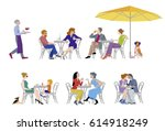 a vector illustration of group... | Shutterstock .eps vector #614918249