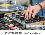 dj play music at hip hop party... | Shutterstock . vector #614926670