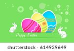 easter greeting card with... | Shutterstock .eps vector #614929649