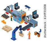 automated factory assembly line ... | Shutterstock .eps vector #614931008