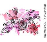 vintage vector floral... | Shutterstock .eps vector #614934500