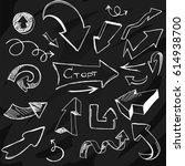 set of arrows on blackboard  | Shutterstock .eps vector #614938700