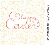 scroll lettering happy easter.... | Shutterstock .eps vector #614939678
