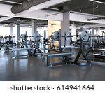 modern gym with bench press and ... | Shutterstock . vector #614941664