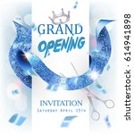 grand opening banner with  blue ... | Shutterstock .eps vector #614941898