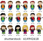 collection of cute stick figure ... | Shutterstock .eps vector #614942618