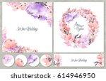watercolor set of backgrounds... | Shutterstock . vector #614946950