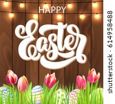 happy easter lettering with... | Shutterstock .eps vector #614958488