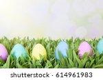 easter eggs spring background | Shutterstock . vector #614961983
