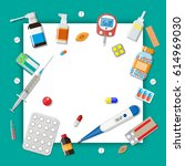 medicine pills capsules and...   Shutterstock . vector #614969030