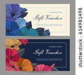 vector gift voucher floral... | Shutterstock .eps vector #614981498