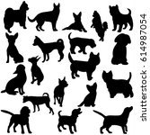 Stock vector illustration vector silhouette dog collection 614987054