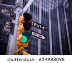 nyc wall street yellow traffic... | Shutterstock . vector #614988098