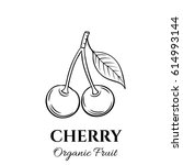 hand drawn cherry icon. vector... | Shutterstock .eps vector #614993144