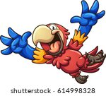 cartoon red macaw. vector clip... | Shutterstock .eps vector #614998328