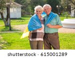 elderly couple with ukrainian... | Shutterstock . vector #615001289