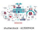 health care concept in modern... | Shutterstock .eps vector #615009434