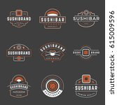 sushi shop logos templates set. ... | Shutterstock .eps vector #615009596