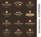 bakery shop logos templates set.... | Shutterstock .eps vector #615009680