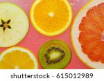 orange grapefruit  and kiwi...   Shutterstock . vector #615012989