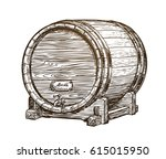 hand drawn vintage wooden wine... | Shutterstock .eps vector #615015950