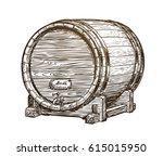 Hand Drawn Vintage Wooden Wine...