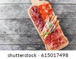 antipasto platter cold meat... | Shutterstock . vector #615017498
