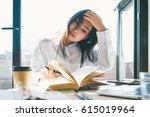 college student is reading... | Shutterstock . vector #615019964