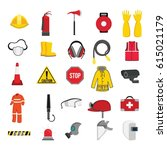 safety tools for fire fighting... | Shutterstock .eps vector #615021179