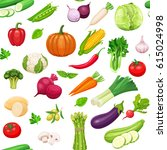 vegetables seamless pattern.... | Shutterstock .eps vector #615024998